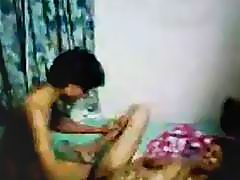 Amateur video of an Indian couple screwing in various positions